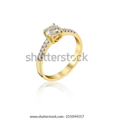 Wedding Diamond gold Ring isolated on white background - stock photo
