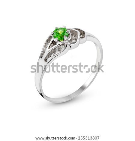 Wedding Diamond Ring isolated on white background - stock photo