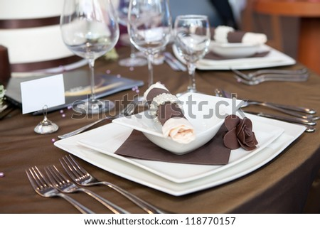 Wedding dinner detail in white and brown - stock photo