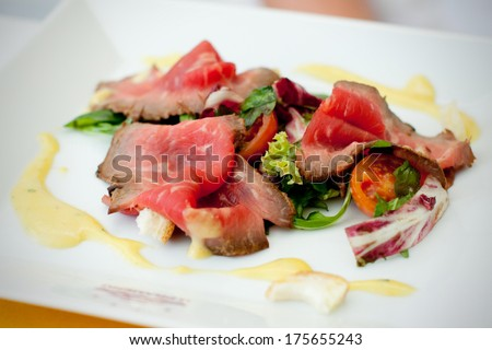 Wedding dinner - salmon, very soft and selective - stock photo