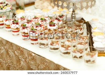 wedding Diversity of pastry decorated with fruit - stock photo