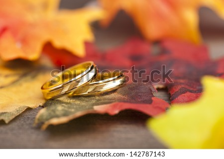 Wedding Engagement ring in festive autumn decoration - stock photo