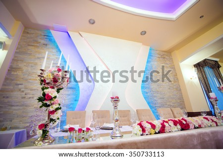 Wedding event decoration. Table setting. Shallow depth of field. - stock photo