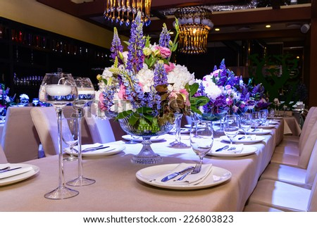 wedding flower on the table - stock photo