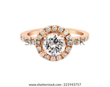 Wedding gold diamond ring isolated on white background - stock photo
