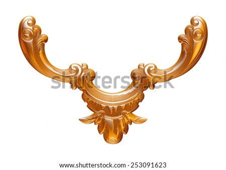 Wedding gold necklace over white background - stock photo