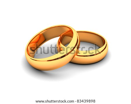 Wedding gold rings 3d - stock photo