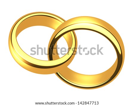 Wedding gold rings on a white background - stock photo