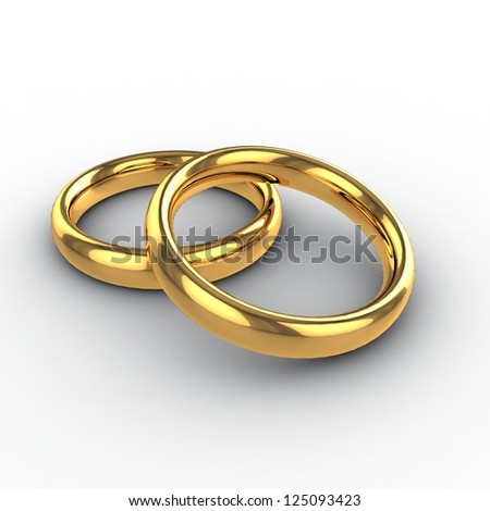Wedding golden rings 3d. Isolated - stock photo