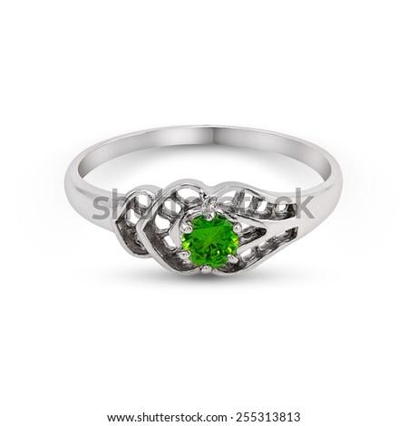 Wedding green gem Ring isolated on white background - stock photo