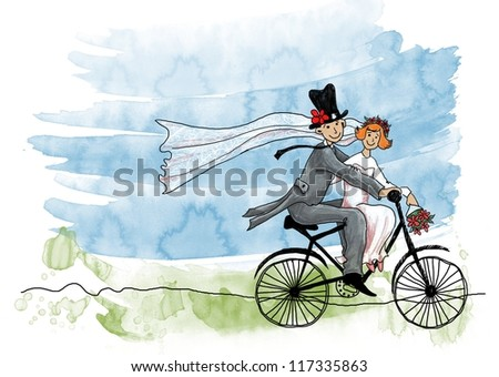 Wedding greeting card. Groom and bride on a bicycle - stock photo