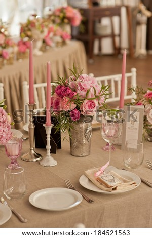 Wedding guest table decoration. Restourant decoration for wedding - stock photo