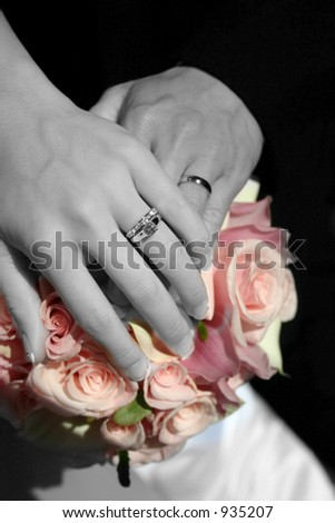 wedding hands with rings - stock photo