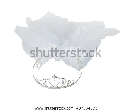 Wedding headband with heart and gems and veil - path included - stock photo