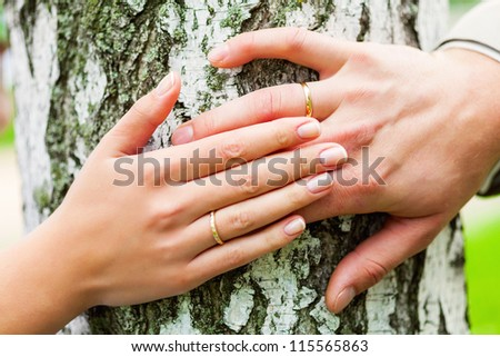 Wedding in the forest - stock photo