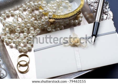 Wedding invitation- baroque style, still life. - stock photo