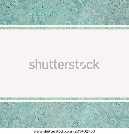 wedding invitation in blue - stock photo