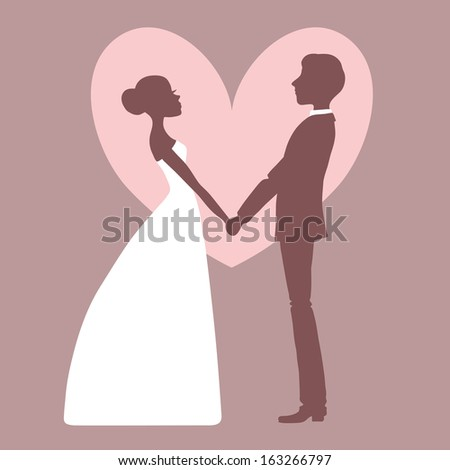 Wedding invitation. Silhouette of bride and groom. - stock photo