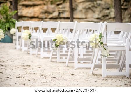 wedding isle on white sand - stock photo