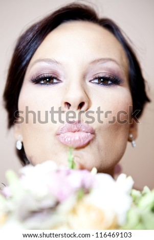 Wedding make up kiss - stock photo