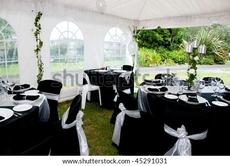 wedding Marque tables - stock photo