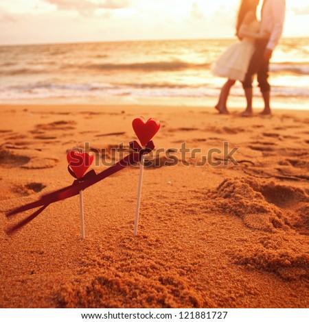 wedding on the beach, honeymoon - stock photo