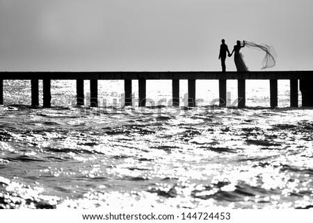 wedding on the sea - stock photo