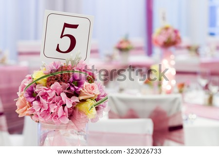 wedding or event, flower on table - stock photo