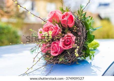 wedding or valentines bouquet made of pink roses  - stock photo