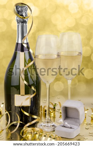 Wedding party still life on golden background. - stock photo