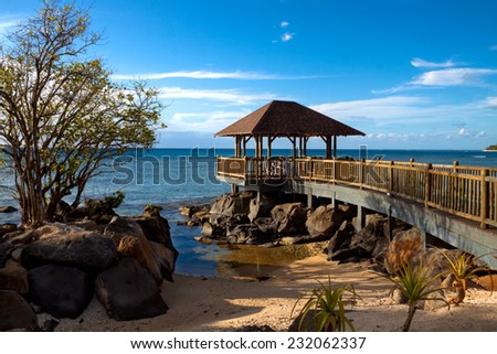 Wedding pavilion over the ocean, Mauritius - stock photo