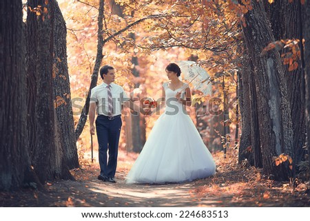 wedding portrait autumn nature - stock photo