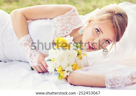 Wedding, portrait of a beautiful bride - stock photo