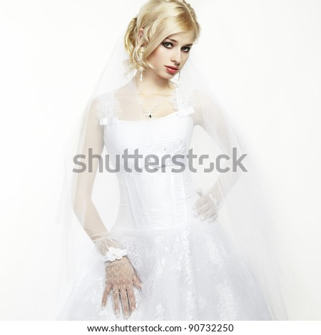 Wedding portrait of beautiful young bride - stock photo
