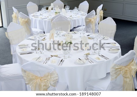 Wedding reception table with ornate decorations - stock photo