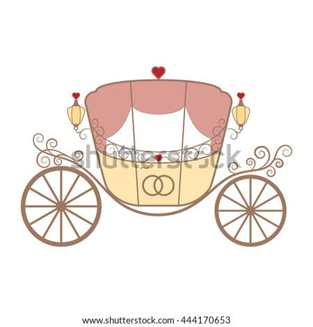 Wedding retro carriage with curls and pink curtains and two crossed rings for newlyweds on the white. Element for your wedding designs, wedding business projects, logo, and other your projects - stock photo