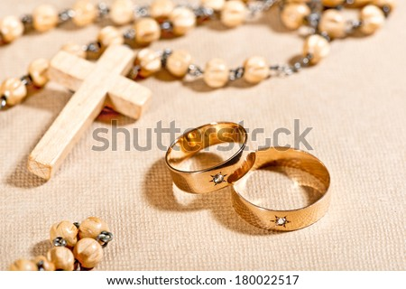 wedding rigs and rosary - stock photo