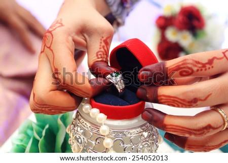 wedding ring and gift box - stock photo
