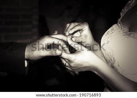 Wedding ring, just married! - stock photo