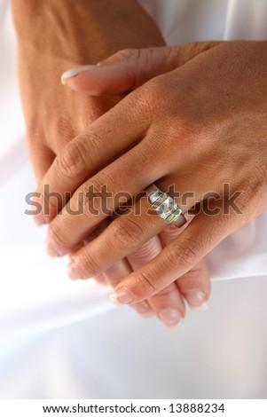 wedding ring on bride - stock photo