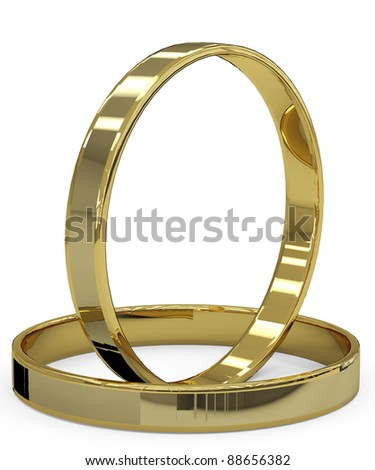wedding ring side view - stock photo