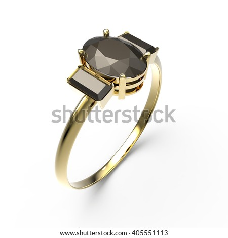 Wedding ring with diamond on a white background. Fashion jewelery. 3d digitally rendered illustration - stock photo