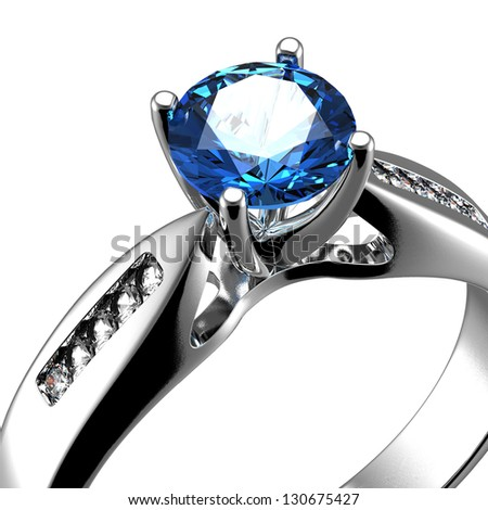 Wedding ring with diamond on white background. Sign of love. Sapphire - stock photo