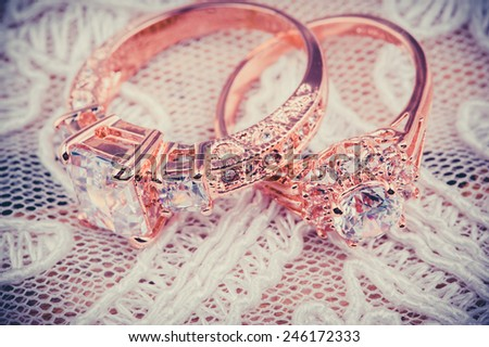 Wedding rings, and fabric vail  - stock photo