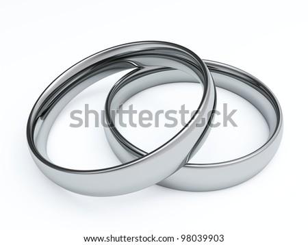 Wedding rings, 3D render - stock photo
