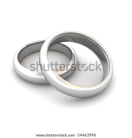 Wedding rings. 3d rendered illustration. - stock photo