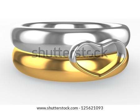 Wedding rings. Heart from two parts. Eternal love concept - stock photo