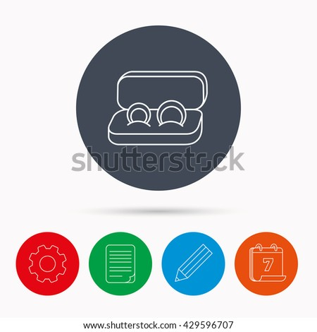 Wedding rings icon. Jewelry sign. Marriage symbol. Calendar, cogwheel, document file and pencil icons. - stock photo