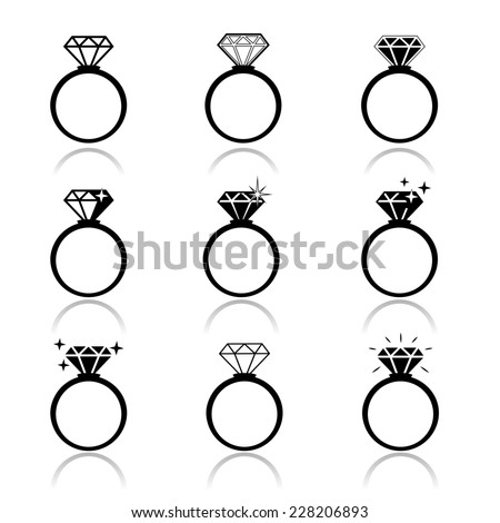 Wedding rings icon. Wedding invitation. Jewelry - stock photo