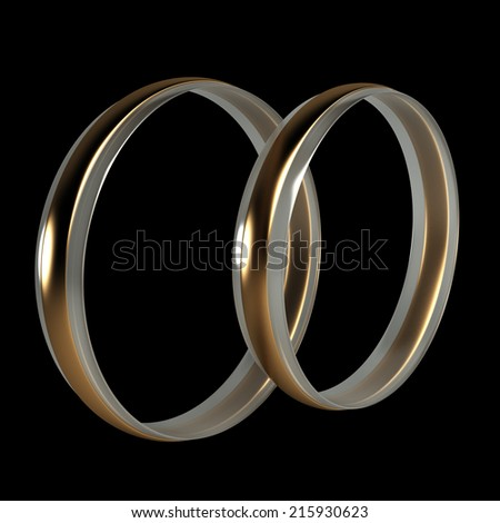 wedding rings. isolated on black background. 3d illustration - stock photo